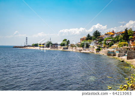 Black sea and old town in Nessebar, Bulgaria 64213063