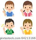 兒童姿勢圖上半身指向OK舉起手鉛筆 64213166