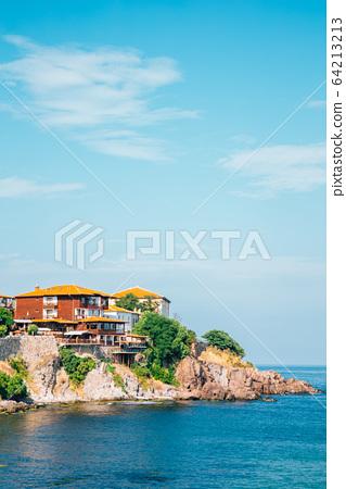 Black sea and old town in Sozopol, Bulgaria 64213213