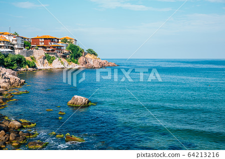 Black sea and old town in Sozopol, Bulgaria 64213216