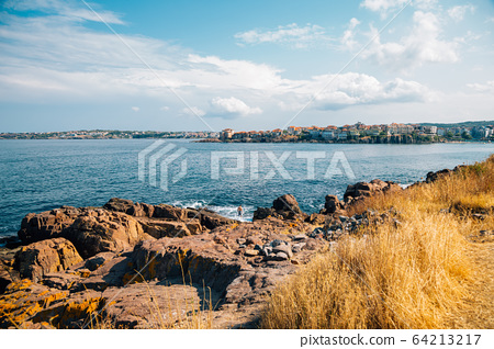 Black sea and old town in Sozopol, Bulgaria 64213217
