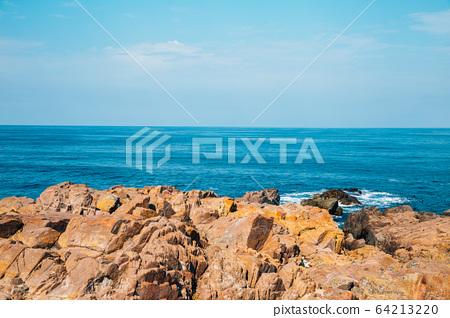 Black sea and rock in Sozopol, Bulgaria 64213220