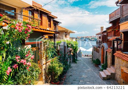 black sea and old town in Sozopol, Bulgaria 64213221