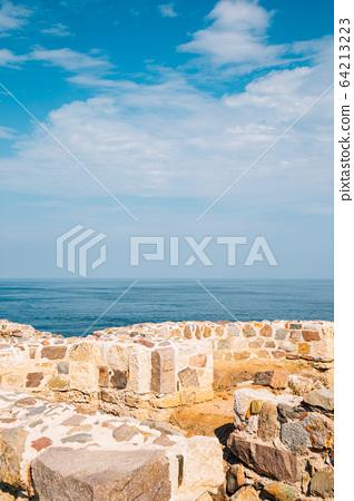 Black sea and Medieval monastery St. Apostles ruins in Sozopol, Bulgaria 64213223