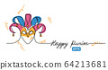 Happy purim simple vector web banner with joker hat . One continuous line drawing, doodle, background, illustration with lettering 64213681