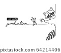 No waste, zero waste vector concept. Non-waste production illustration. One continuous line drawing of raccoon and apple core. 64214406