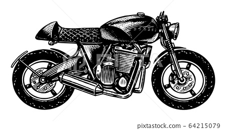 Motorcycle or Bike, retro motor bicycle for tattoos or t shirts. Hand drawn engraved monochrome 64215079