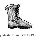 Trekking boots. Vintage label. Hiking shoe, Hand drawn engraved sketch for T-shirt, logo or badges. 64215095