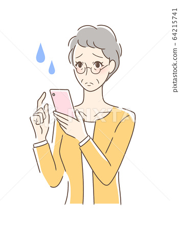 An uneasy woman operating a smartphone 64215741