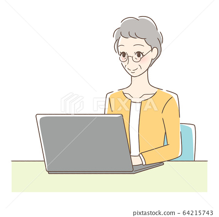 Smiling woman operating a computer 64215743