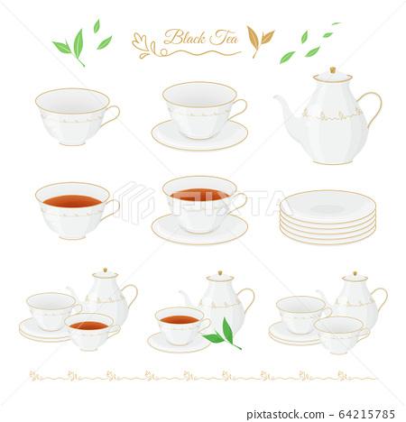 茶插圖素材集_茶杯_鍋_茶葉 64215785