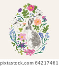 Floral composition with a rabbit. 64217461