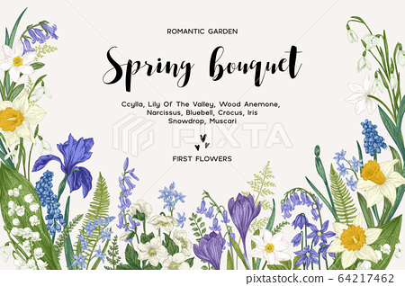 Card with spring flowers. 64217462