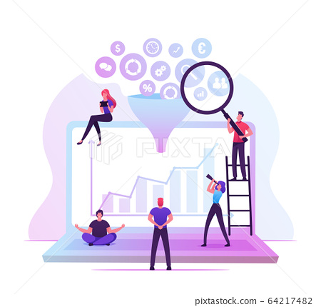 Businesspeople Working around of Huge Laptop with Different Business Icons Falling Down through Funnel 64217482