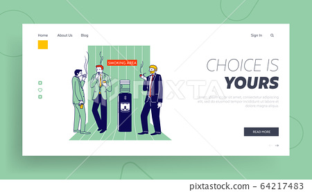 Smoking Addiction and Bad Unhealthy Habit Website Landing Page. Office Employees Stand at Water Cooler Drinking Coffee 64217483