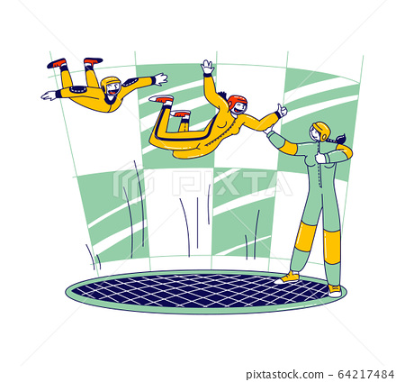 Happy Male and Female Characters Training with Coach in Vertical Glass Wind Tunnel. Extreme Sports Experiment 64217484