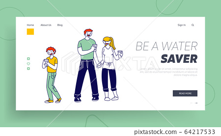 Healthy Habit and Lifestyle Website Landing Page. Happy Family of Mother, Father and Boy Holding Glasses 64217533
