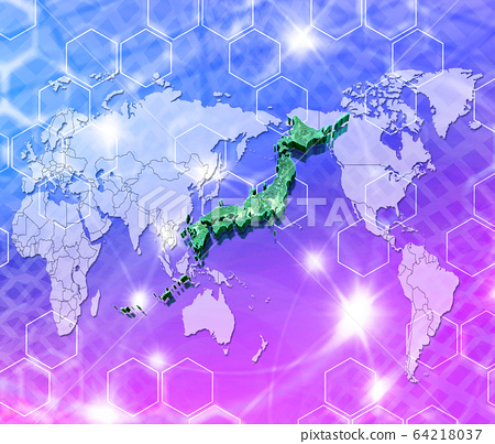 World map and Japan map 64218037