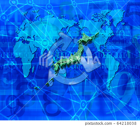 World map and Japan map and recycling 64218038