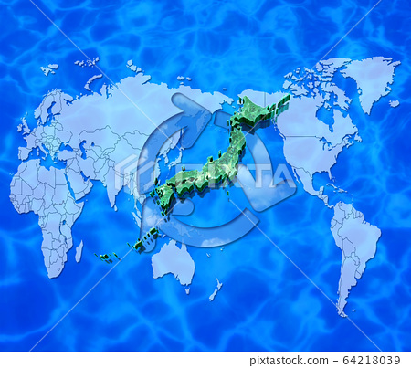 World map and Japan map and recycling 64218039