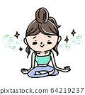 女人做瑜伽冥想和磨练精神 64219237