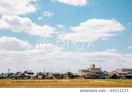 Japanese countryside village Kibitsu in Okayama, Japan 64223235