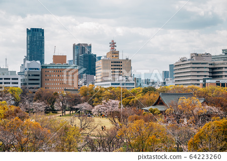 Osaka castle park and cityscape at spring in Japan 64223260
