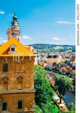 Cesky Krumlov old town and Vltava river in Czech 64223865