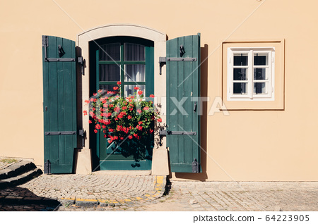 Yellow color wall and vintage style green door and blooming flowers 64223905