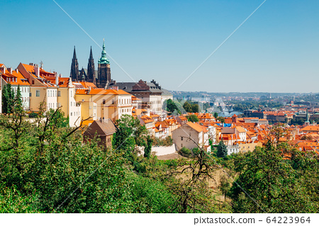 Prague castle and St. Vitus Cathedral from Petrin hill in Czech Republic 64223964