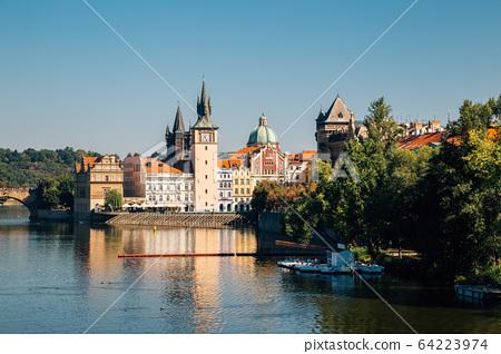 Vltava river and Prague cityscape in Czech Republic 64223974