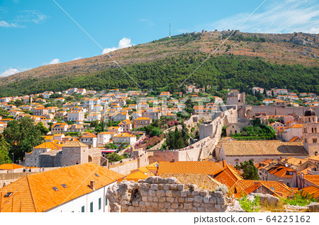 Dubrovnik old town and city walls panorama view in Croatia 64225162