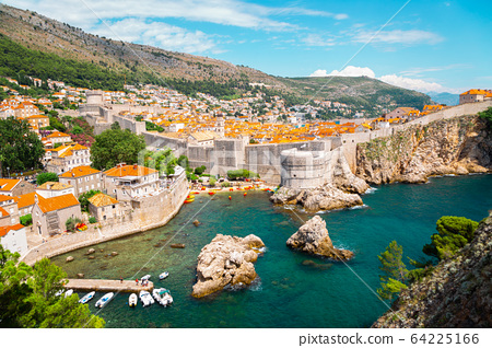 Dubrovnik old town medieval city walls and Adriatic sea in Croatia 64225166