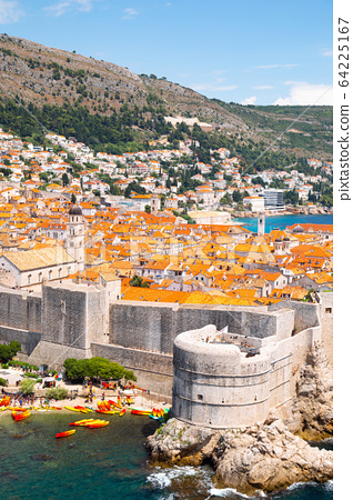 Dubrovnik old town medieval city walls and Adriatic sea in Croatia 64225167