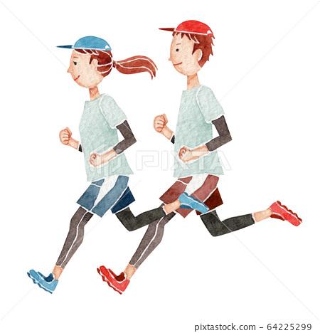 慢跑跑步馬拉松人水彩插圖 64225299