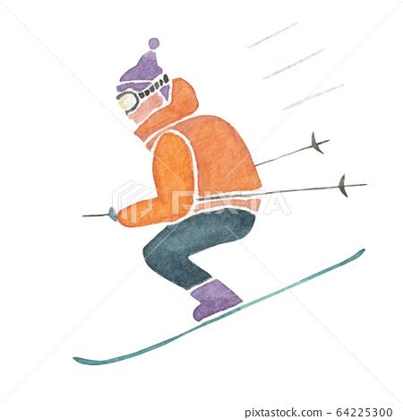 스키 겨울 스포츠 인물 수채화 일러스트 64225300