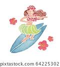 草裙舞女孩衝浪人女人水彩插圖 64225302