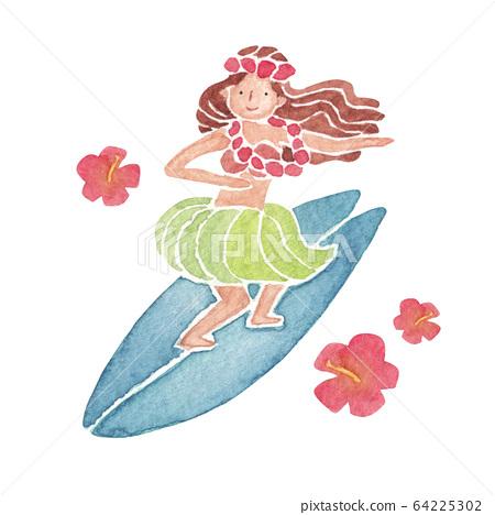 훌라 걸스 서핑 인물 여성 수채화 일러스트 64225302