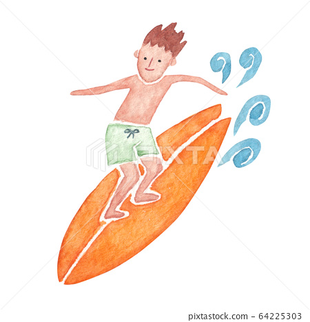 Surfing person male watercolor illustration 64225303
