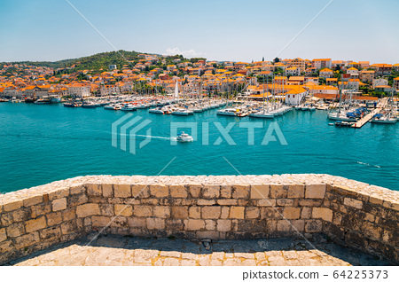 Adriatic sea and harbor view from Kamerlengo castle and fortress in Trogir, Croatia 64225373