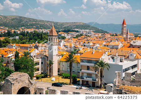 Historic town Trogir panorama view from Kamerlengo castle and fortress in Trogir, Croatia 64225375