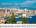 Riva street and old town panorama view in Split, Croatia 64225534