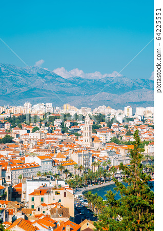 Riva street and old town panorama view in Split, Croatia 64225551