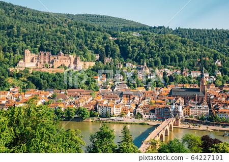 Heidelberg castle and old town panorama view from Philosopher's walk in Heidelberg, Germany 64227191