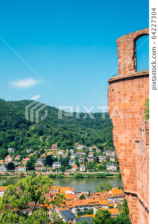 Heidelberg old town panorama view from Heidelberg castle in Germany 64227304