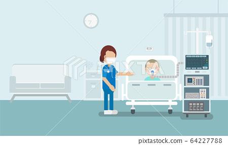 Elder patient with ventilator 64227788