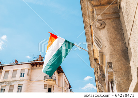 Hungary National Flag and old building in Budapest, Hungary 64228473