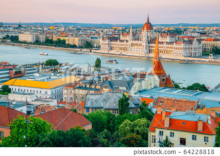 Hungarian Parliament Building and Danube river, Budapest city panorama view at sunset in Hungary 64228818