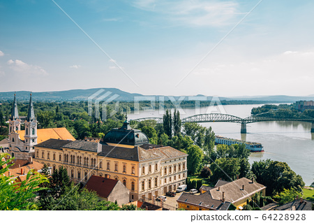 Esztergom city and Danube river panorama view in Hungary 64228928