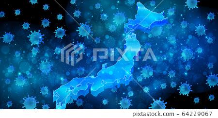 코로나 바이러스 일본 배경 64229067